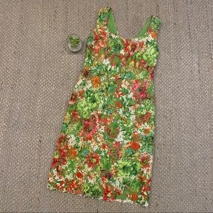 Carlisle Floral Silk Crochet Overlay Sheath Dress